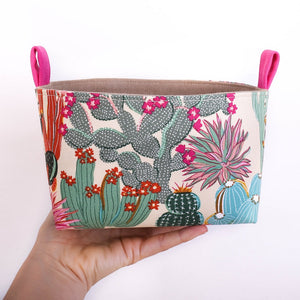 medium storage fabric basket for cactus lover, handmade in Australia by MIMI Handmade