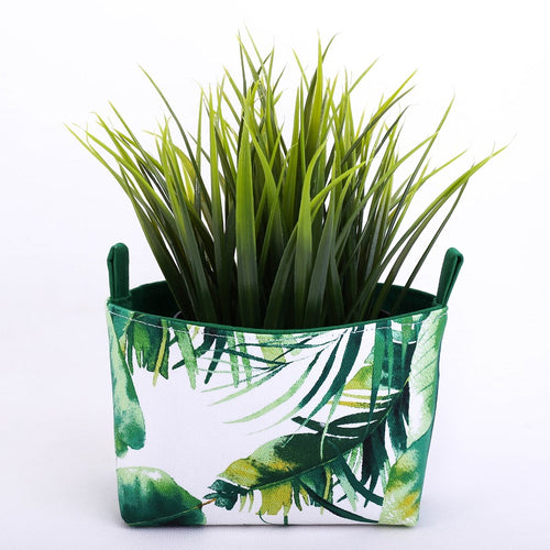 mini green monstera and palm plant pouch storage basket made in Australia by MIMI Handmade Baskets