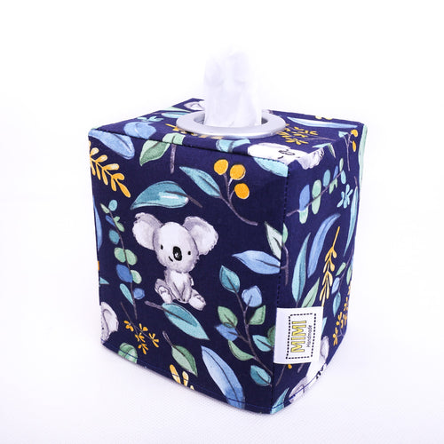 navy-blue-tissue-box-cover-featuring-koalas-for-gum-tree-australiana-nursery