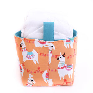 side view peach llama storage basket -boho llama nursery nappy basket