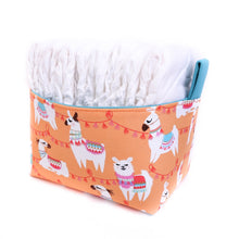 Load image into Gallery viewer, peach llama storage basket -boho llama nappy basket