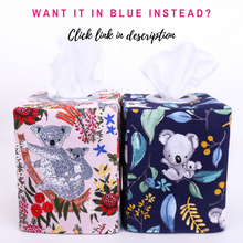 Load image into Gallery viewer, pink-and-blue-tissue-box-covers-featuring-koalas-for-gum-tree-australiana-baby-nursery-home-decor