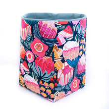 Load image into Gallery viewer, pink-protea-blossom-fabric-reversible-storage-basket hand made by MIMI Handmade Australia