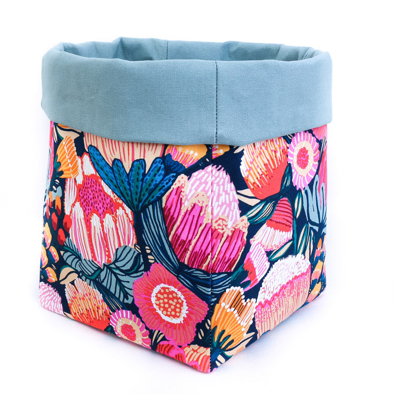 pink-protea-blossom-fabric-reversible-storage-basket-sage-lining hand made by MIMI Handmade Baskets Australia