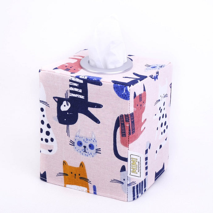 PINK CAT DRAWINGS - Small Square Tissue Box Cover
