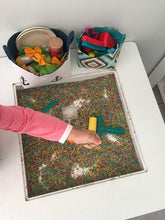 Load image into Gallery viewer, rainbow rice sensory bin pretend play storage basket with by MIMI Handmade Baskets, Australia