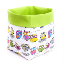 Load image into Gallery viewer, Large storage bin for toys | Crazy owls with green folding top