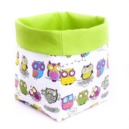 Large storage bin for toys | Crazy owls with green folding top