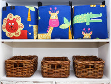 Load image into Gallery viewer, cube storage baskets in blue and black for toys in a safari nursery with lion, crocodile, giraffe, handmade by MIMI Handmade Baskets, Australia