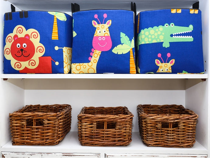 cube storage baskets in blue and black for toys in a safari nursery with lion, crocodile, giraffe, handmade by MIMI Handmade Baskets, Australia