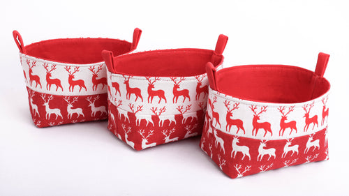 set of 3 red mini fabric decorative Christmas baskets, red deer, xmas table decor, Rudolph the red nose reindeer, hand made in Australia by MIMI Handmade