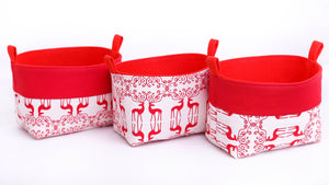 set of 3 red reindeer Xmas storage baskets, scandi Christmas decor, designed and hand made in Australia by MIMI Handmade Baskets