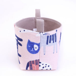 side view of small handmade pink kawaii cat drawings decorative storage basket, made in Australia by MIMI Handmade Baskets