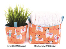 Load image into Gallery viewer, small and medium peach llama decorative basket - nappy basket - peach llama nursery - orange plant pouch