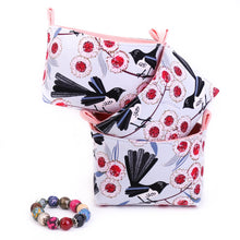 Load image into Gallery viewer, mini wagtail decorative basket - floral jewellery box - Australiana Nursery storage - wagtail canvas storage - handmade in Australia with Jocelyn Proust fabric
