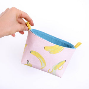 small decorative basket pink yellow banana fabric storage basket by MIMI Handmade Baskets, Australia