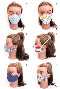 colourful 3 layer handmade fabric face masks to cover your mouth and nose,