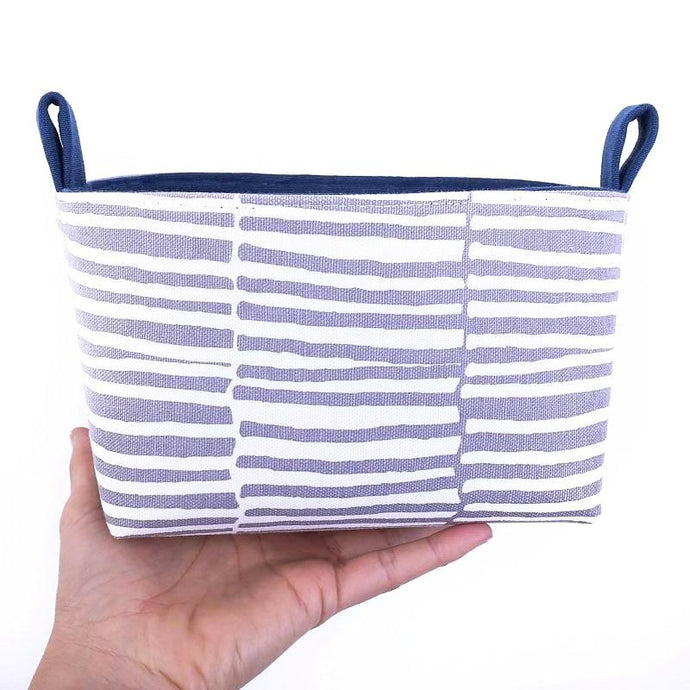 Only 1 left! Medium NAVY STRIPES Basket
