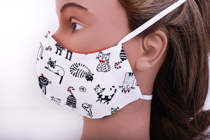 triple layer black & white cat  face mask