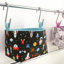 Load image into Gallery viewer, wall organiser storage baskets for boys space astronaut rocket decor by MIMI Handmade Baskets, Australia