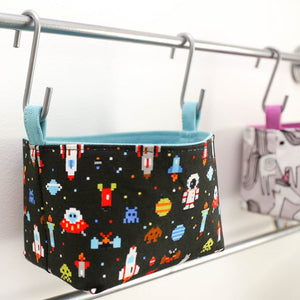 wall organiser storage baskets for boys space astronaut rocket decor by MIMI Handmade Baskets, Australia