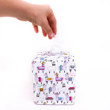 Load image into Gallery viewer, white party llama tissue box cover for boho llama nursery