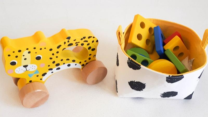 wooden toy yellow cheetah for kids with assorted storage basket by MIMI Handmade Baskets | handcrafted in Australia