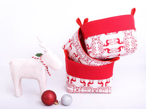 wooden deer with set of 3 red reindeer Xmas storage baskets, scandi Christmas decor, desinged and hand made in Australia by MIMI Handmade Baskets