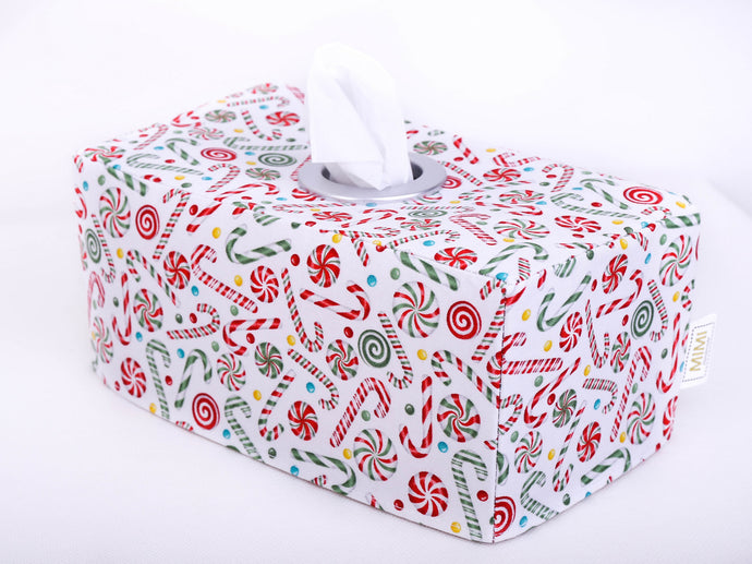 xmas candy canes tissue box cover, christmas table decor, hand made  in Australia by MIMI Handmade Baskets