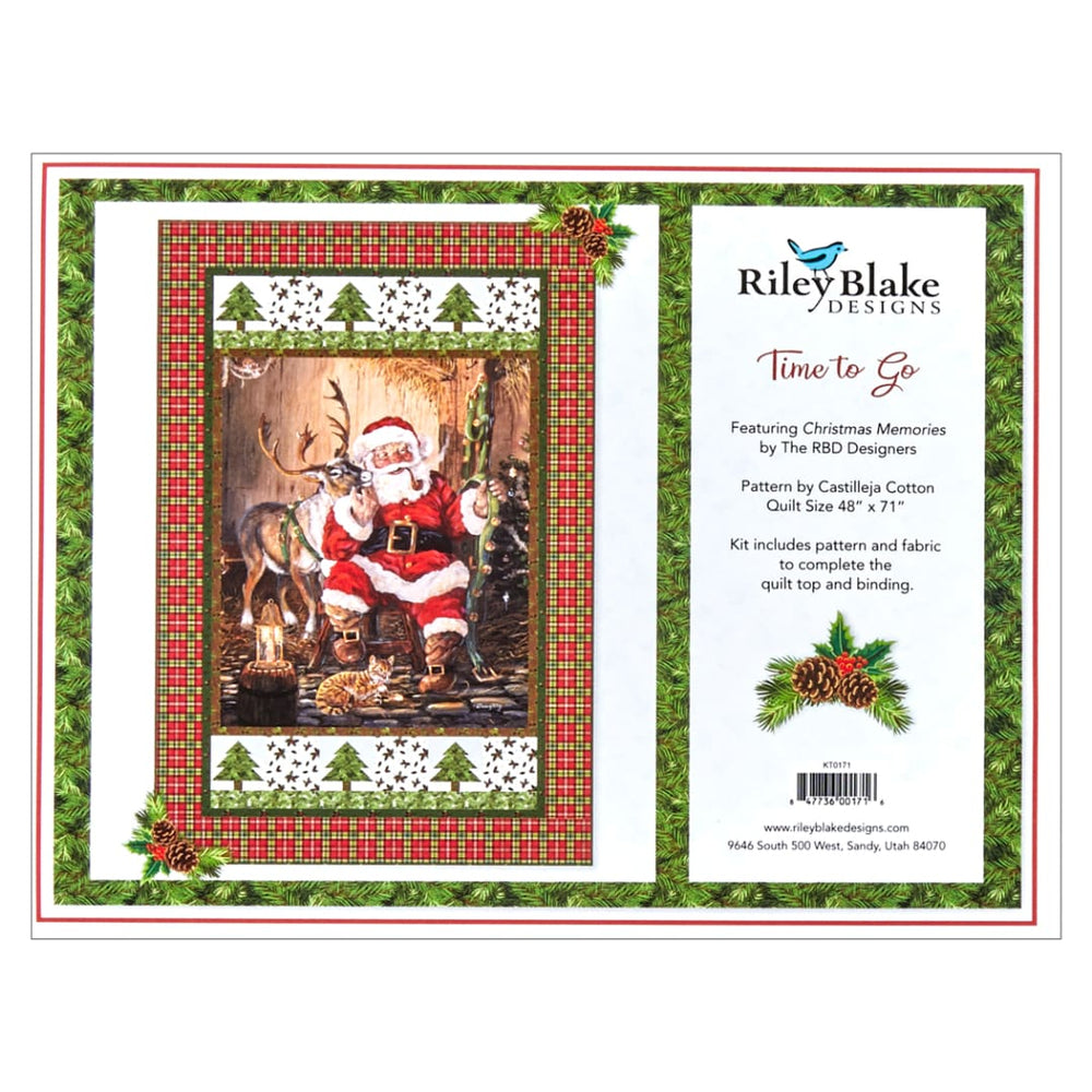 "Time to Go - QUILT KIT - Pattern by Castilleja Cotton - features Christmas Memories fabric by Riley Blake Designs - Pieced - Advanced Beginner - 48""x 71"""