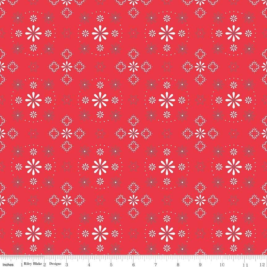 "108 Wide Bee Backings! - Quilt Back Fabric - Riley Blake - by Lori Holt - 108"" wide Bandana Red WB6420 - RebsFabStash"