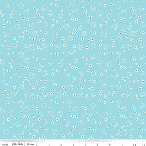 "108 Wide Bee Backings! - Quilt Back Fabric - Riley Blake - by Lori Holt - 108"" wide Chicks on Aqua WB C6423 - RebsFabStash"