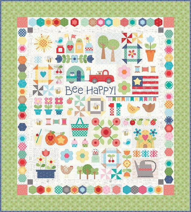 "108 Wide Bee Backings! - Quilt Back Fabric - Riley Blake - by Lori Holt - 108"" wide Chicks on Coral WB C6423 - RebsFabStash"