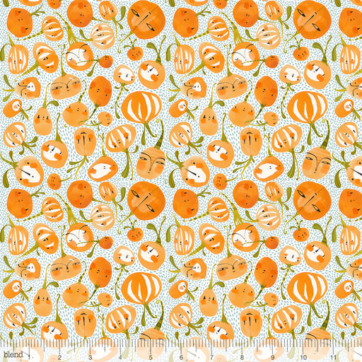 NEW! Fall Goodness - per yard - by Cori Dantini for Blend - Pumpkin Party Blue - 112.119.03.2