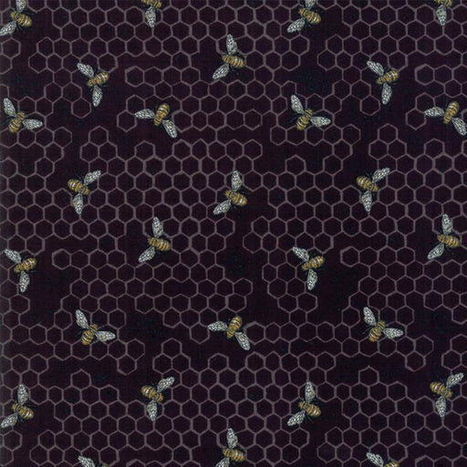 "Bee Joyful - ""REMNANT"" 1y 10"" - Deb Strain for MODA - beautiful prints! 19874-15 - bees and honeycomb on black (Ebony)"