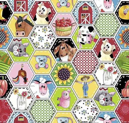 NEW! Patchwork Farms by Desiree Designs - Quilting Treasures - Per Yard - Cows, Farm Animals, barns - Small Hexagons on White 26108 Z