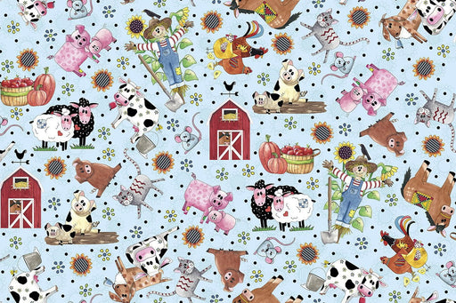 NEW! Patchwork Farms - Desiree Designs - Quilting Treasures - animals - from the farm! Per Yard - Cows, Farm Animals, barns - on light blue