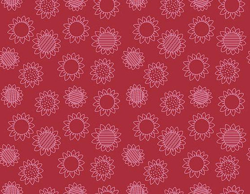 NEW! Patchwork Farms - Desiree Designs - Quilting Treasures - Per Yard - Sunflower Linework - tonal on Red