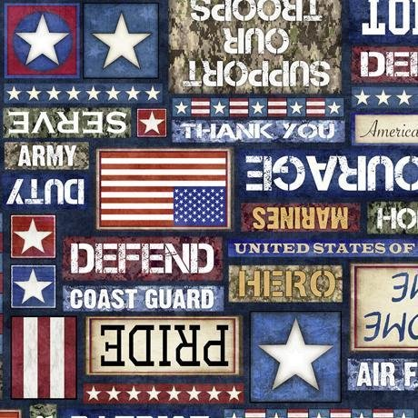 All American - per yard - Dan Morris - Quilting Treasures - Military Vehicles - Dark Navy - 27615-N - Tanks submarines ships airplanes jeeps helicopters stars