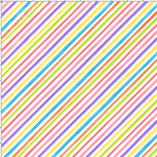 Bias Stripe White - per yd - Loralie Harris Designs - diagonal multi colored stripe on white -  basics