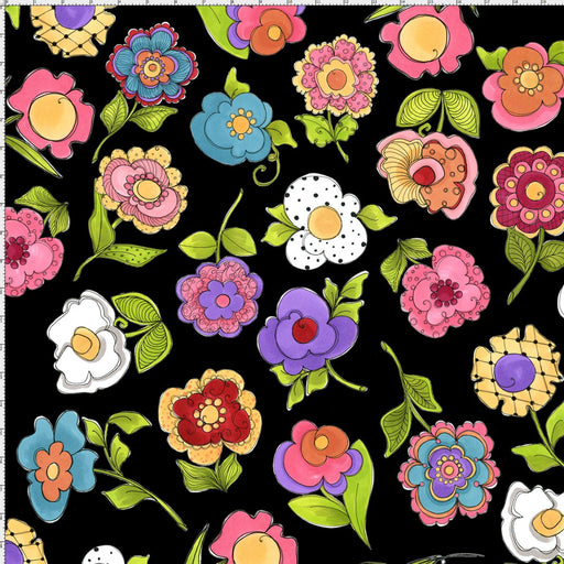 Blossom - per yard - Loralie Harris Designs - Large tossed blossoms on black - Big Blossoms - RebsFabStash