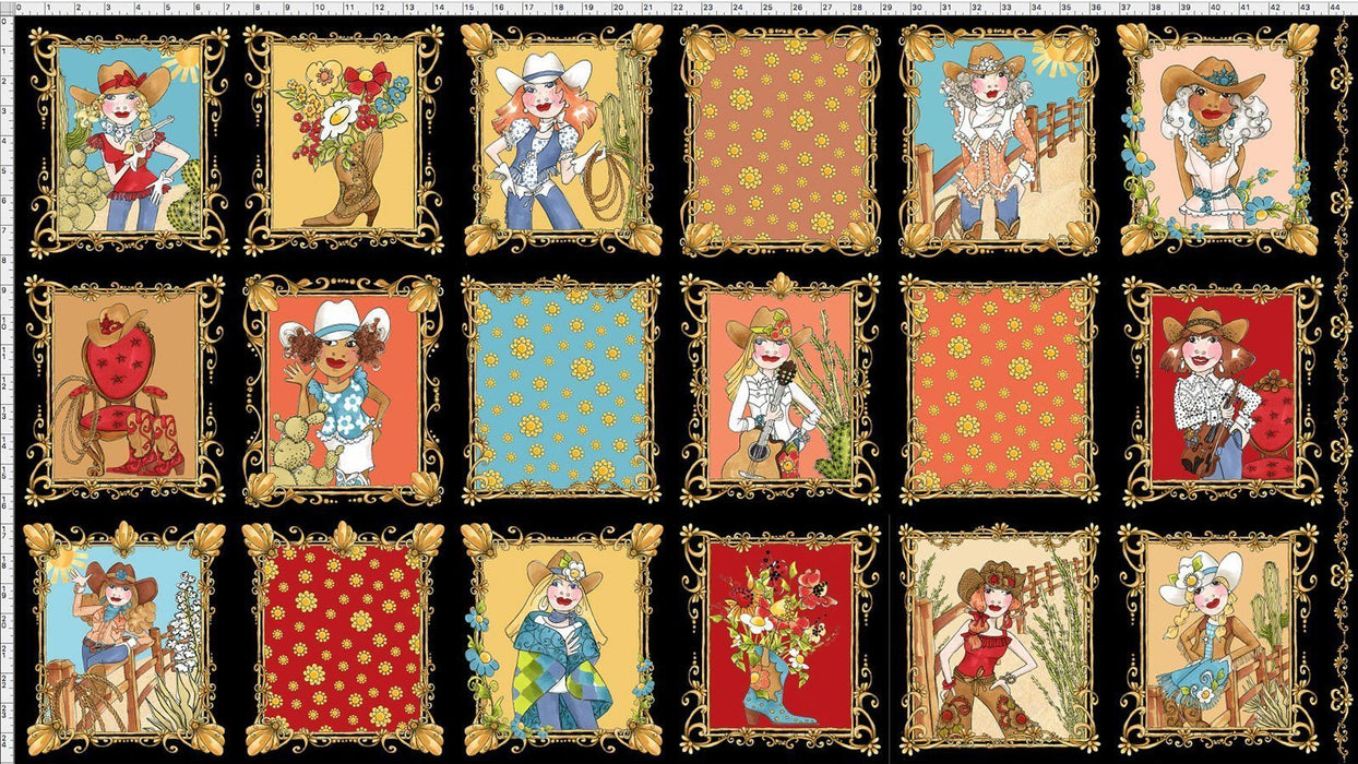 Whoa Girl! - PANEL - Loralie Harris Designs - New collection by Loralie! Cowgirl, boots, ropes, yee haw!  Panel blocks on Turquoise Blue