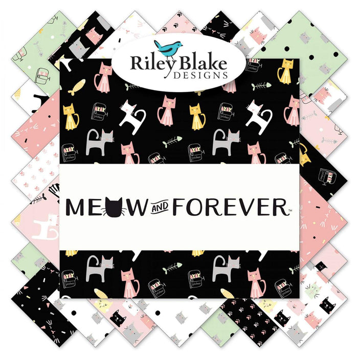 "Meow and Forever Fabric Collection -Fat Quarter bundle (18) 18"" x 21"" pieces -Riley Blake Designs -My Mind's Eye - Dani Mogstad -Cat fabric! Cute colors!"