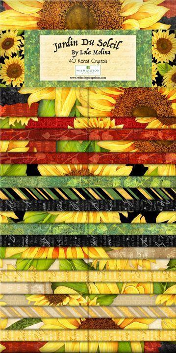 "Jardin du Soleil - Jelly Roll (40) 2.5"" strips - Lola Molina for Wilmington Prints -  Beautiful sunflower fabrics!"