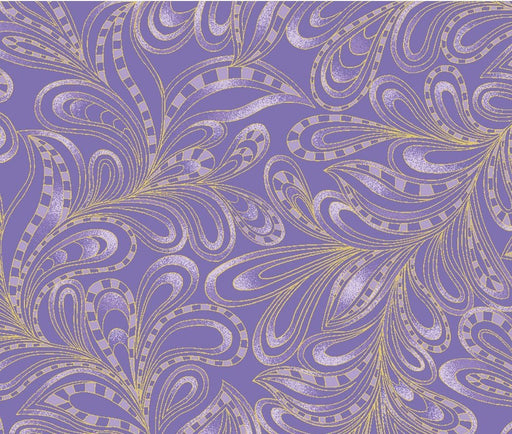 "NEW! Cat-I-Tude 2 - Purrfect together - Ann Lauer -REMNANT 1 yd 22"" - Benartex - Featherly Paisley Purple 7555M-66 - CatITude - lavender"