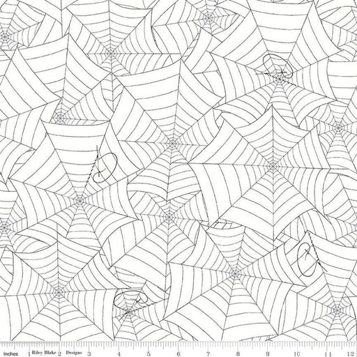 Costume Maker's Ball - per yard - Janet Wecker Frisch- Riley Blake Designs - Halloween fabric! Black spider web on White C8366