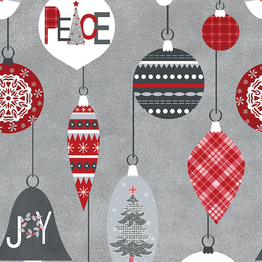 NEW! Let it Snow - Contempo (Benartex) - by Cherry Guidry Per Yard - Christmas, snowmen, snowflakes - Ornaments on grey