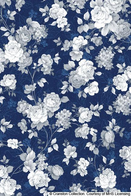 Charlotte - Wedgewood Roses - per yard  - Quilting Treasures - Roses, White on Dark BLUE - 24114-Y