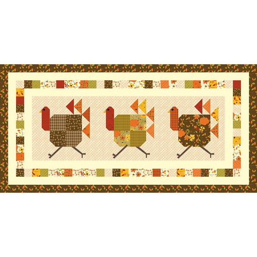 NEW! Turkey Trot Boxed Quilt Kit - Table Runner - uses Give Thanks by Sandy Gervais - Riley Blake Designs