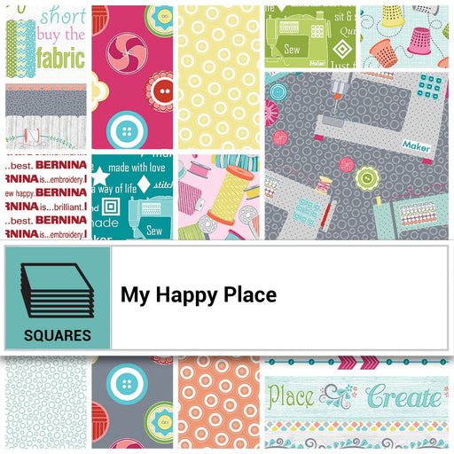 "My Happy Place - Layer Cake (42) 10"" squares - Contempo - Benartex - Cherry Guidry"